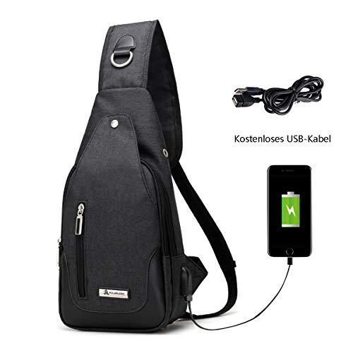 Neusky Brusttasche Schultertasche Brusttaschen Daypack Militär Sporttasche für Damen und Herren (Schwarz)