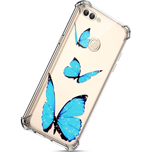 Kompatibel mit Huawei P Smart Hülle, Herbests Bunte Transparent Silikonhülle Case Cover Durchsichtige Schutzhülle Handytasche Ultra Dünne Bumper Handyhülle,Glitzer Schmetterling