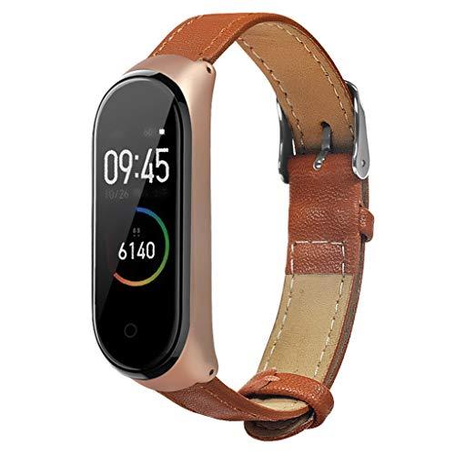 bloatboy Luxus Business Leather Uhrenarmband für Xiaomi Mi Band 4, Mode Smart Watch Metallrahmen Handschlaufe Uhrenarmband (Braun)