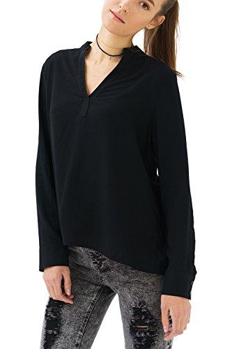 Trueprodigy casuale donna camicia uni semplice, abbigliamento urban moda collo coreana (manica lunga & slim fit classic), blusa moda vestiti colore: nero 2082504-2999-m