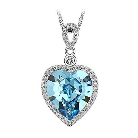 Xuping Jewelry Show Love Crystal Elements Pendant Necklace From SWAROVSKI (Aquamarine)