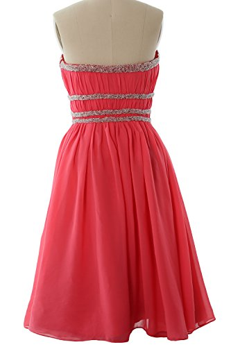 MACloth Women Strapless Chiffon Short Prom Dress Cocktail Party Formal Gown Elfenbein