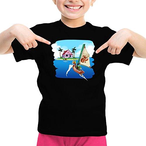 Okiwoki T-Shirt Enfant Fille Noir Dragon Ball Z - Zelda parodique La Kame House et Link : Une île Perdue. (Parodie Dragon Ball Z - Zelda)