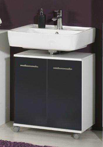Schildmeyer 114138 Waschbeckenunterschrank, 60 x 63,5 x 32,5 cm, weiß / anthrazit