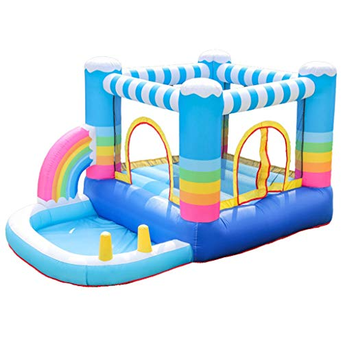 Bouncy Castles Children's Toys Children's Rainbow Inflatable Castle Outdoor Playground Home Toys Indoor Trampoline Slide (Color : Multi-colored, Size : 290 * 200 * 225cm)