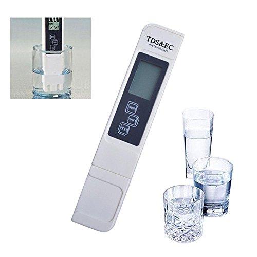 LayOPO TDS Digitaler Wassertester TDS EC Messgerät mit Lederschutzhülle für Trinkwasser Aquarien Hydrokultur Pool gebrochenes weiß