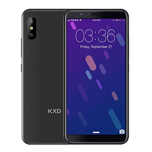 KXD 6A Smartphone ohne Vertrag Günstig Android, Handy 5.5 Zoll(18:9) 1GB Ram+8GB interner Speicher 2500mAh Akku 5MP Dual Kamera, 64GB interner Speicher Dual SIM Face-Unlock (Schwarz)