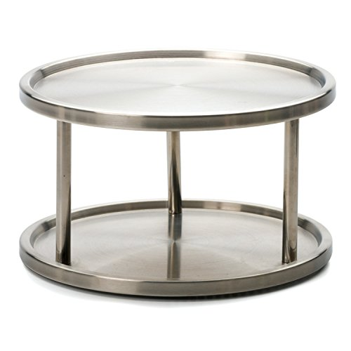 RSVP Brushed Stainless Steel 2/Two Tier Spice Turntable Organizer Lazy Susan New Tier-lazy Susan