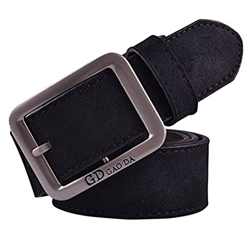 Bluester Mens Casual Waistband Leather Automatic Buckle Belt Waist Strap Belts (Black)