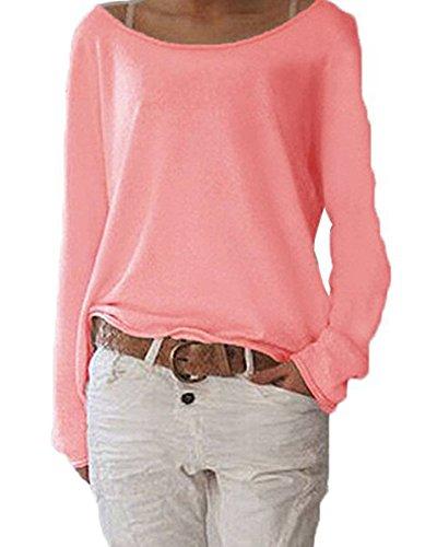 Guiran Maglieria Maglioni Donna Maglia Manica Lunga Elegante Maglietta Casual Top Pink S