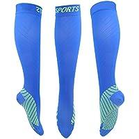 SADFGH Calcetines de compresión para Hombres y Mujeres Mejor Graduado Athletic Fit para Correr, Viajes de Vuelo y Embarazo de Maternidad,Blue,L