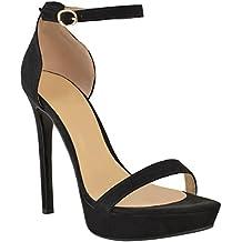 ca357ed0e3c33b Fashion Thirsty Mujer Plataforma Alta Tacón Aguja Sandalias Sexy Fiesta  Baile Zapatos Talla Nuevo