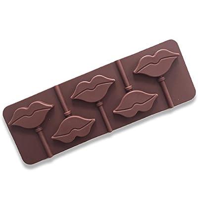 Hemore lèvres Rouges Lollipops Moule à Cake Moule en Silicone pour Candy Chocolat Bakeware Moule 5cavité