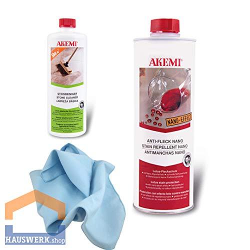 Akemi Set/Anti Fleck Nano-Effect 1 Liter/Steinreiniger 250 ml/Microfasertuch