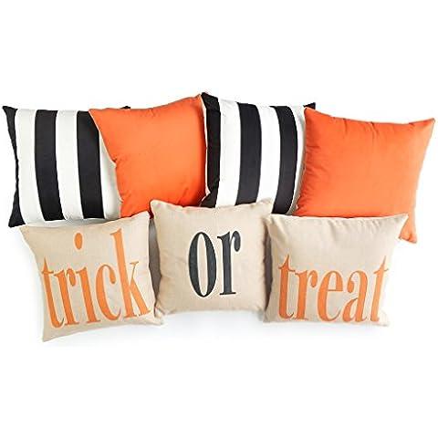hofdeco Set di 7pezzi Copriletto Cuscino decorativo Dolcetto o scherzetto di Halloween arancione nero a righe Pesante tessuto in velluto e cotone lino Copricuscino 45,7x 45,7cm