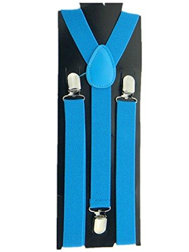 Bretelle Elastique réglable 3 pinces pour Homme forme Y bleu ciel