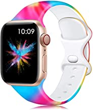Lerobo Bands Compatible with Apple Watch Bands 40mm 38mm 44mm 42mm Women Men, Silicone Floral Printed Fadeless