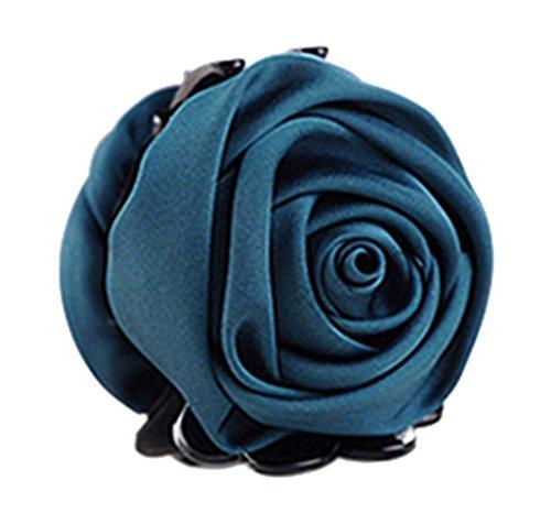 un Belles Clips Rose Fleur Cheveux Ponytail clip, vert foncé
