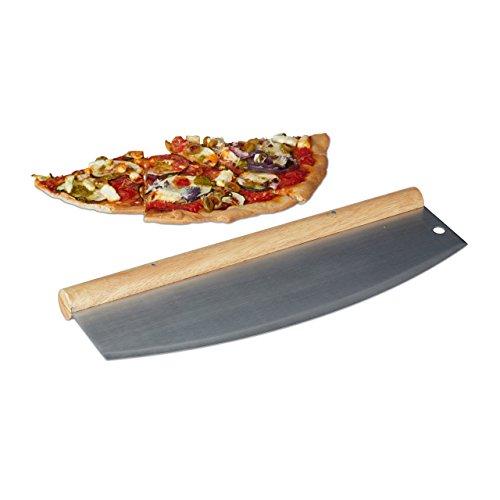 Relaxdays Pizza Wiegemesser, Edelstahl Pizzaschneider...