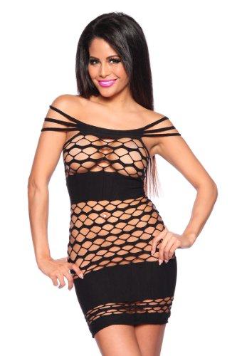 Sexy Damen Kleid Tube-Kleid Netz-Minikleid mit Cut Out in schwarz