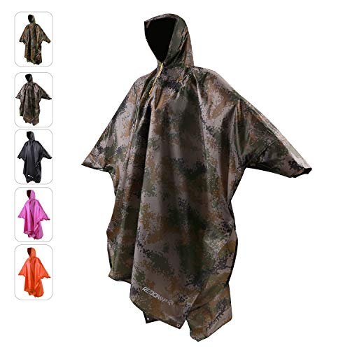 REDCAMP Rain Poncho for Adult, Plus Size Rain Coat with Hoods and Sleeves for Men Women Camping Hiking Cycling