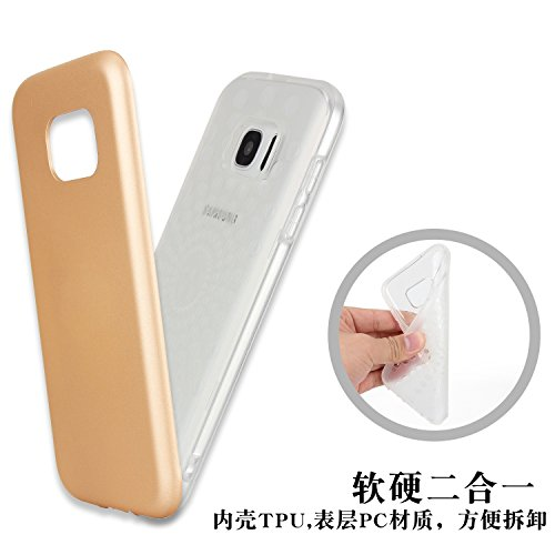 Dual Layer PC + TPU Hybrid Shell Abdeckung 360 ° Voller Körper Schutz Schock Absorbtion Fall Ultra Thin Slim Case für Samsung Galaxy S7 ( Color : Gray ) Gold