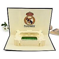 BC Worldwide Ltd Tarjeta pop-up 3D Fútbol español Real Madrid Estadio Santiago Bernabéu cumpleaños, día del padre, día de San Valentín, Navidad, aniversario, regalo de año nuevo
