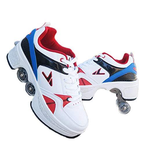 WEDSGTV 2-in-1-Mehrzweckschuhe Inline-Skates Roller Blades Stiefel Outdoor-Sport Wanderschuhe Stilvolles Design Anfänger-Rollschuhe Unisex Jungen Mädchen 4-Rad Verstellbar,Multi-colored-40