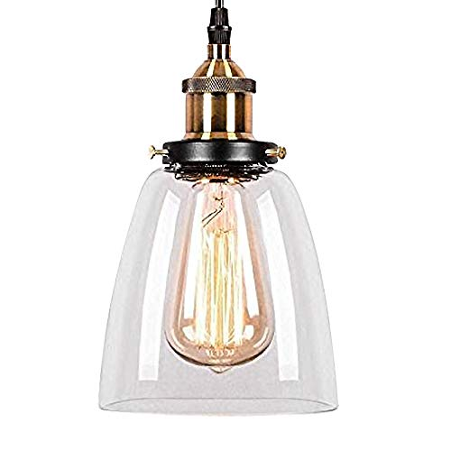 Glighone Luz Colgante 40W Lámpara de Techo Lámpara Industrial Luz Vintage Luz de Pantalla de Metal Casquillo E27 No Incluye Bombilla, Transparente