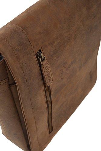 LEABAGS Berlin - Borsa messenger in vera pelle di bufalo - Look vintage - Marrone chiaro Marrone