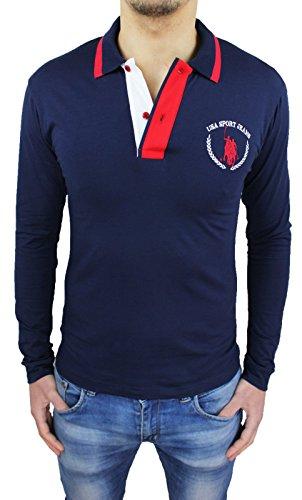 Polo uomo blu maglia maniche lunghe cotone Usa Polo Jeans Sport (XL)