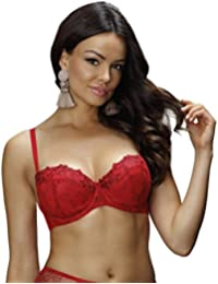 13c34b27cb Nessa B2 Women s Rubin Red Solid Colour Embroidered Padded Underwired Push  Up Bra