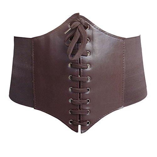HOEREV® elastischen breiten elastischen Band gebunden waspie Korsett Hüftgurt_M_Braun (Gypsy Kostüm Frauen)