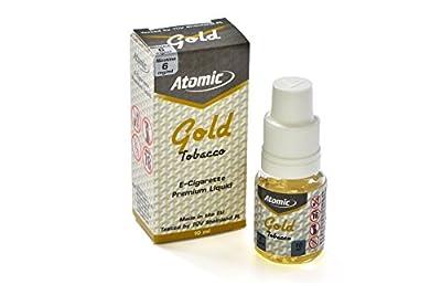 10 x Atomic Premium Liquid f. E-ZigarettenInhalt 10ml - Nicotin 6mg/ml Aroma GOLD (Tabak mild) von LeaLuc