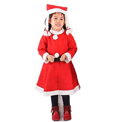 GLP Herren Santa Father Weihnachten bärtigen Kostüm Ball Kostüm Weihnachten Kleidung Set Luxus Luxus hohe Kostüm rot 6 Stück Set (Color : 6-8 Years ()
