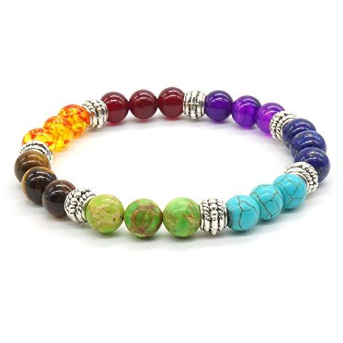 Achat Perlen 7 Chakras Energie Stein Armband Yoga Healing Balance Stein Armkette Elastisches Steinarmreif