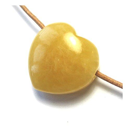 Herz Anhänger gebohrt Calcit orange 25 mm