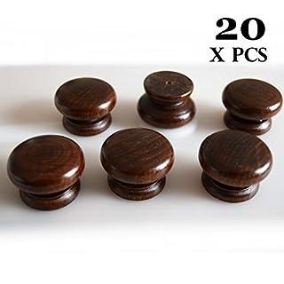 20 x wooden knobs handles colour: walnut kitchen door cabinet cupboard 40 mm diameter by Amazoak