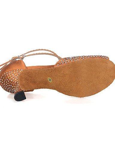 ShangYi Chaussures de danse(Noir / Marron / Vert) -Personnalisables-Talon Bobine-Satin-Ventre / Latine / Jazz / Baskets de Danse / Moderne / Black