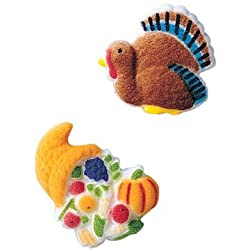 Thanksgiving Fall Turkey Cornucopia Sugar Decorations Cookie Cupcake Cake 12 Count By Lucks
