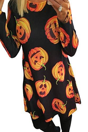Mupoduvos Vestido de la túnica de Halloween de Las Mujeres Calabaza Calavera Fantasma Telaraña Party Disfraces 5 L