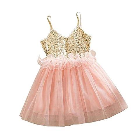 FEITONG Enfants Filles Princesse Paillettes Toddler Tulle Mode Tutu Dentelle Robe Slip (110, Rose)