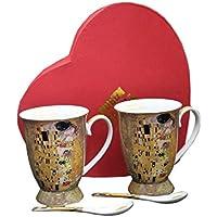 """Juego de té de porcelana de 4piezas con el diseño de """"El beso"""" de Gustav Klimt"""