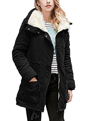 Minetom cappotto invernale da donna giacca trench lungo parka con cappuccio imbottito giubbino sport felpa giacche con coulisse nero it 50