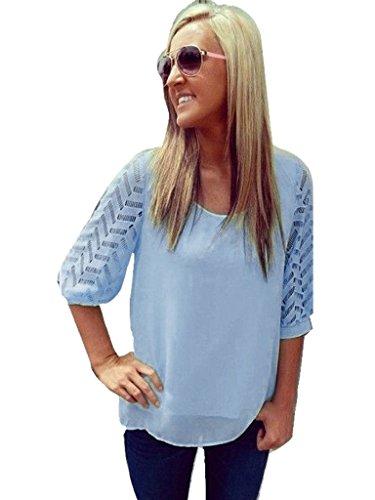 Blooming Jelly Femme Évider Crochet dentelle Chemisier en mousseline d'été Bleu
