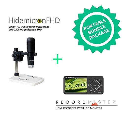 HidemicronFHD 1080P HD Digital HDMI Microscope + 1080p 60fps HDMI Video Recorder Record Master Bundle Package (Bundle Video-recorder)