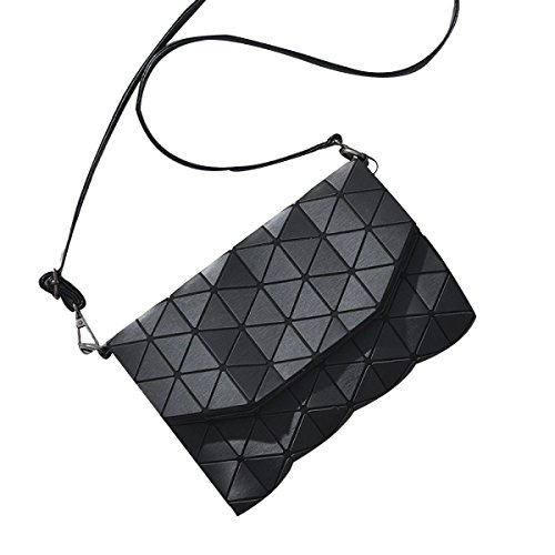 Lock Diamantgitter Schick Umhängetasche Lederhandtaschen Shopper-Handtasche Black