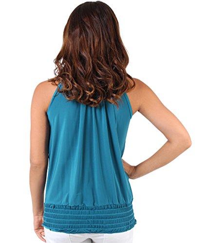 KRISP® Femmes Top Drapé Col Lavallière Sexy Uni Sans Manche Soirée Bleu vert