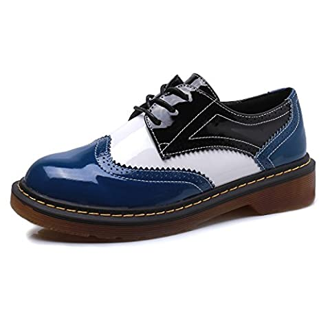 Smilun Womens Brogues Classic Derby Shoes 3 Eyes Lace-Up Deby Flats Tassel Fringe Round Toe Oxford Shoes Black White Blue