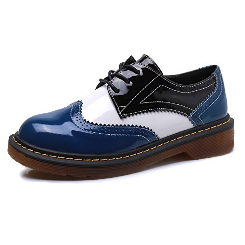 Smilun Chaussures Femme Derby Assortie Varié Multicolore Classic blue